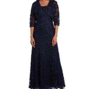 R & M Richards Embellished Soutache Gown & Bolero